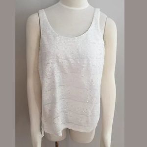 EXPRESS White Sequin Tank Top Blouse Shirt Size M